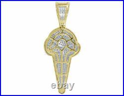 14K Yellow Gold Finish 1.35 Cttw Chocolate Ice Cream Cone Diamond Pendant