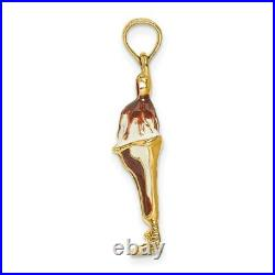 14k Gold Chocolate Ice Cream Sundae WithCherry Top Charm L- 21.8mm, W-11.45mm