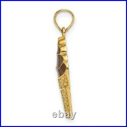 14k Gold withBrown Enamel Chocolate Ice Cream Cone Charm L- 19.05mm, W-9.3mm