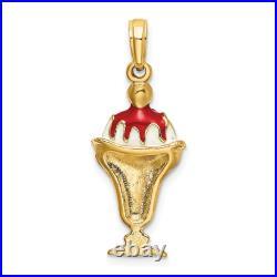 14k Yellow Gold Chocolate Ice Cream Sundae Cherry Top Pendant Charm Necklace