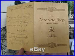 1920's The Chocolate Shop Watseka Illinois Original Vintage Menu Ice Cream Shop