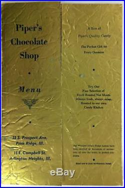 1940's Menu PIPER'S CHOCOLATE SHOP Ice Cream Restaurant Park Ridge Illinois