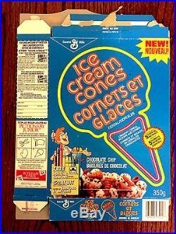 1988 General Mills Ice Cream Cones / Jones Cereal Box NEW Chocolate Chip
