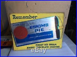 20 x 15 ESKIMO PIE Vintage Original 1950s Metal Sign Chocolate Ice Cream Dairy