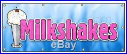 36x96 MILKSHAKES BANNER SIGN thick ice cream shop chocolate vanilla tin
