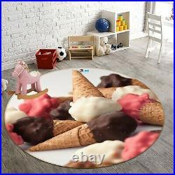 3D Chocolate Ice Cream ZHUA3957 Game Non Slip Rug Mat Photo Carpet Zoe