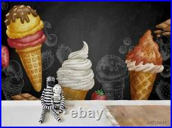 3D Ice cream Sketch Chocolate Self-adhesive Removeable Wallpaper Wall Mural 1223