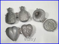 3 Antique Molds Victorian Cupid Heart Ice Cream Chocolate Hinged Cast Pewter