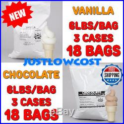 3 CASES EACH of Non-Dairy Vanilla and Chocolate Soft Serve Ice Cream Mix