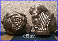 3 antique ice cream chocolate baking cooking mold vtg pastry sandwich food art