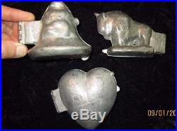 3 metal ANTIQUE ice cream CHOCOLATE candy MOLDS, HEART BUFFALO XMAS ANGEL BELL