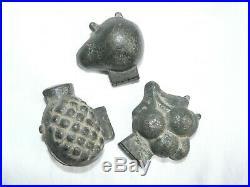 3 x Small Antique Pewter Ice Cream Chocolate Butter Hinged Fruit Molds Moulds