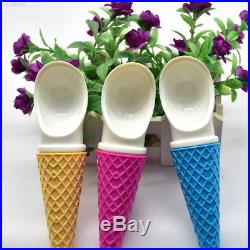 439F Plastic Ice Cream Shape 3 Color Fruit Dug Spoon Chocolates Spoon Ice Cream