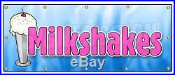 48x120 MILKSHAKES BANNER SIGN thick ice cream shop chocolate vanilla tin