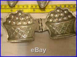 4 Antique BREVETE Molds ICE CREAM Butter CHOCOLATE Candy RARE helmet PINEAPPLE +