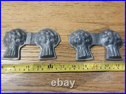 4x Vintage Heavy Pewter Chocolate / Ice Cream / Butter Moulds Folding Metal
