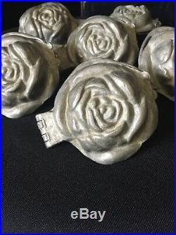 6 Antique Pewter Rose Ice Cream/ Chocolate Molds