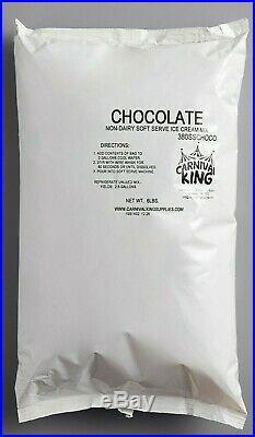 6 PACK 6 lb Non-Dairy Chocolate Soft Serve Ice Cream Mix Machine Bag Makes 15 Ga