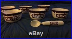 6 Vintage HERSHEYS CHOCOLATE Ceramic Ice Cream Bowls With Scoop