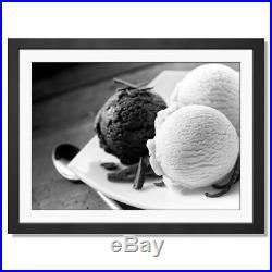A3 BW Chocolate Vanilla Ice Cream Scoops Framed Print 42X29.7cm #42690