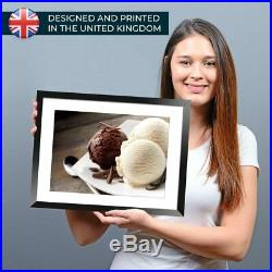 A3 Chocolate Vanilla Ice Cream Scoops Framed Prints 42X29.7cm #21349