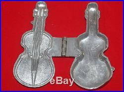 Antique E & Co Pewter Figural Ice Cream Or Chocolate Mold Guitar Violin 544