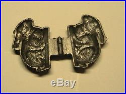 ANTIQUE PEWTER Easter Rabbit ICE CREAM CHOCOLATE MOLD E &Co NY#675 4 Long
