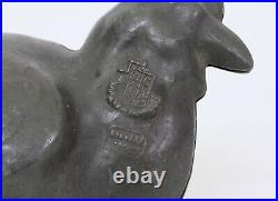 ANTIQUE PEWTER HINGED ICE CREAM CHOCOLATE MOULD CHICKEN c1900