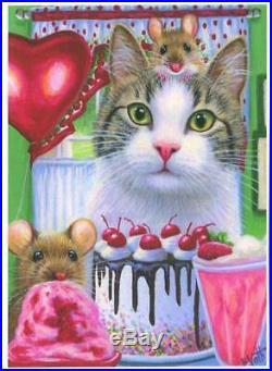 Aceo White Tabby Cat Cherry Chocolate Cake Milkshake Ice Cream Mouse Heart Print