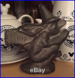 Antique Halloween Scary Wicked Witch Pewter Ice Cream Chocolate Type Mold 1153
