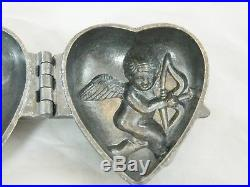 Antique Ice Cream Mold Mould Chocolate or Candy too, Intricate Cupid Heart S & C