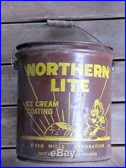 Antique Metal Can Siren Mills Corp Northern Lite Ice Cream Coating Chocolate Can