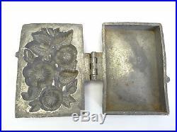 Antique Old Kraus Rose, Wild Bouquet Pewter Stamped 455 Chocolate Ice Cream Mold