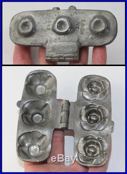 Antique Pewter 3 Rose Chocolate Butter Ice Cream Mold Mould E & Co Eppelsheimer