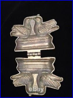 Antique Pewter Ice Cream Candy Butter Chocolate Big Mold #177 Love Birds