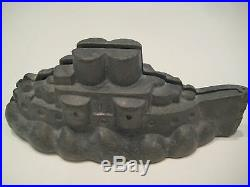 Antique Pewter Ice Cream or Chocolate Mold #513 Battleship or Streamship