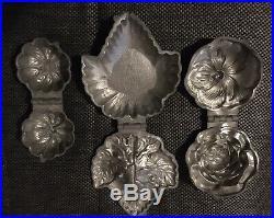 Antique Pewter Metal Ice Cream Molds Chocolate Soap Grape Leaf Rose Pumpkin