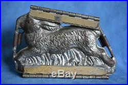 Antique Pewter Running Easter Bunny Rabbit Hinged Clamp Chocolate Ice Cream Mold