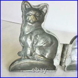 Antique Pewter Schall Krauss Sitting Cat 170 Ice Cream Chocolate Mold Vintage