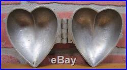 Antique T MILLS & BRO HEART Hinged Metal Ice Cream Chocolate Candy Mold Phila Pa
