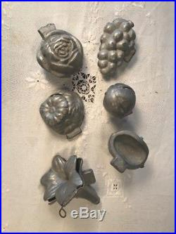 Antique Victorian Pewter Hinged Ice Cream / Chocolate Molds Lot Of 6