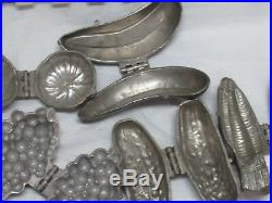 Antique Victorian Pewter Hinged Ice Cream PARLOR Chocolate Molds Lot Of 5