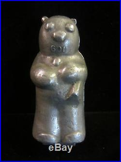 Antique Vintage Metal Chocolate Candy Ice Cream Bear Mold Hinged 4 1/2H