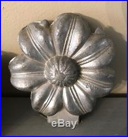 Antique Vintage Pewter Ice Cream Butter Chocolate Mold Clover Orchid Poinsettia