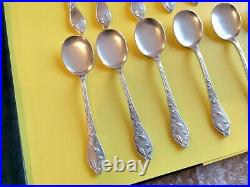 Art Nouveau Boulenger Cocoa 12 Spoons Ice Cream Silver Metal