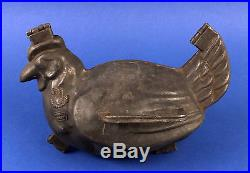 BIG FRENCH ANTIQUE PEWTER HINGED ICE CREAM CHOCOLATE MOLD depicting a CHICKEN