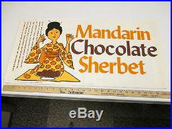 Baskin Robbins ice cream 1974 sign poster MANDARIN CHOCOLATE SHERBET geisha girl