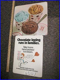 Baskin Robbins ice cream CHOCOLATE LOVING 1972 store display sign hand packed