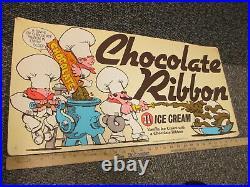 Baskin Robbins ice cream CHOCOLATE RIBBON 1984 store display sign chef fire hose