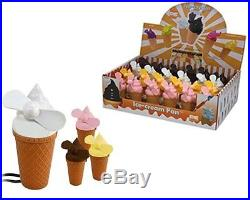 Battery Operated Chocolate Foam Bladed Ice Cream Fans, Set of 24